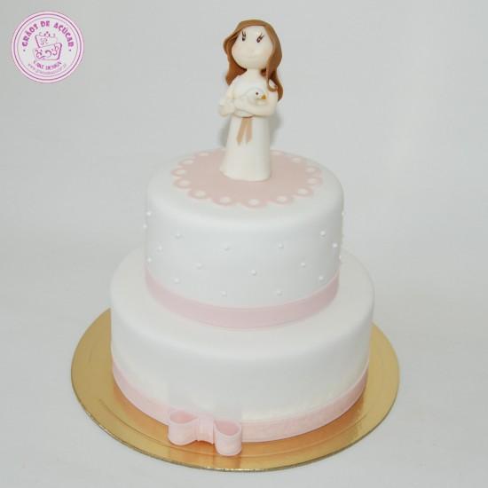 Batizado Menina e Pomba - Grãos de Açúcar - Bolos decorados - Cake ... b24fd04778