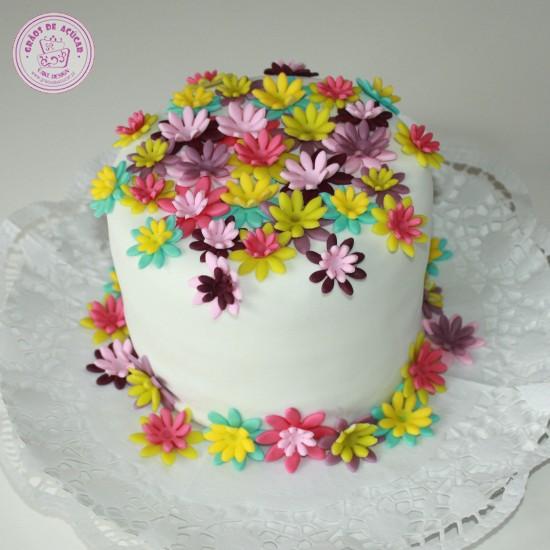 Flores Coloridas Grãos De Açúcar Bolos Decorados Cake