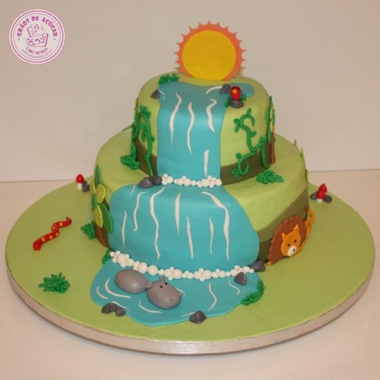 selva - cascata - gr u00e3os de a u00e7 u00facar - bolos decorados